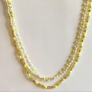 Chan Lulu 3 Strand Necklace Mother Pearl Crystal